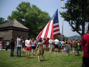 Crowds gather for flag ceremony, July 4, 2012. Photo credit - Fort Pitt Society.