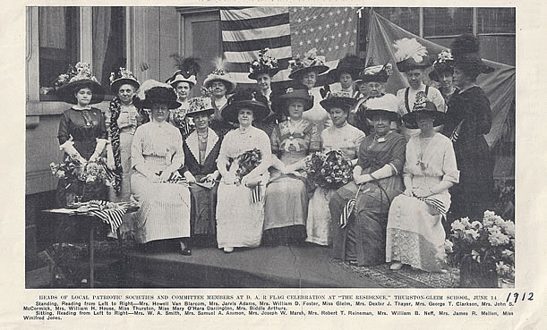 Ladies of the Pittsburgh Chapter, NSDAR gather for a flag celebration in 1912.   Photo credit – Fort Pitt Society