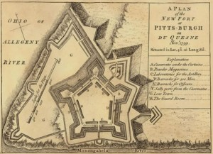 Plan for the new British fort at Pittsburgh, later named Fort Pitt.  Construction began as early as 1759 with the completion of Fort Pitt in 1761.  The fort remained standing for over thirty years.