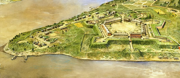 An artistic rendition of how Fort Pitt would have appeared in the early 1760s before the construction of the Block House. Courtesy of Fort Pitt Museum, Pennsylvania Historical and Museum Commission.