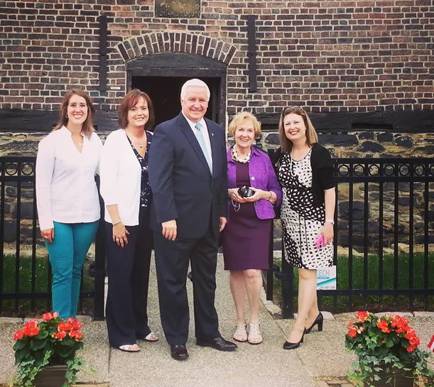 Kathryn Imler, Fort Pitt Society Board member; Dru Simeone, Regent, Pittsburgh Chapter, NSDAR; Pennsylvania Governor Tom Corbett, Carolyn Walker Taylor, member, Pittsburgh Chapter, NSDAR; and Liz Wheatley, President, Fort Pitt Society.