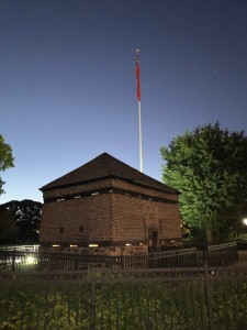 The current Fort Pitt Block House at dusk.