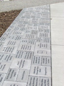 Engraved brick pavers along the walkways of the Edith Ammon Memorial Garden.