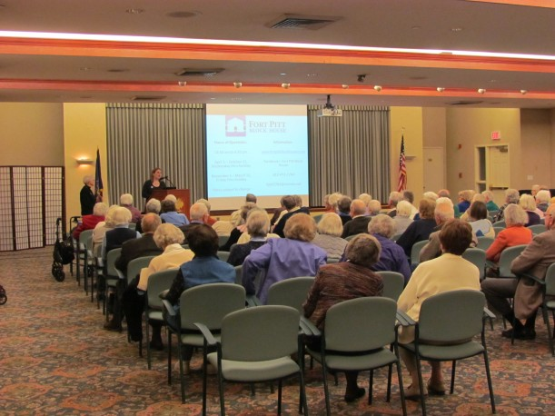 Weaver gives presentation to residents of Longwood at Oakmont senior living community, March 3, 2014.