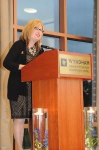 Elizabeth Wheatley, President of the Fort Pitt Society at the Block House 250 Gala on September 11, 2014. Photo credit - Gary Rihn