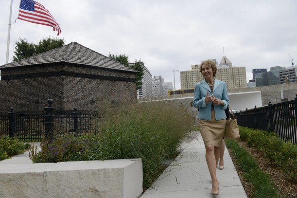 Julie Nixon Eisenhower tours the gardens at the Fort Pitt Block House during her visit to Pittsburgh for the Block House 250 Gala. Copyright ©, Pittsburgh Post-Gazette, 2014, all rights reserved. Reprinted with permission.